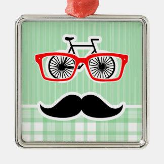 Funny Mustache, Green Plaid Christmas Tree Ornament