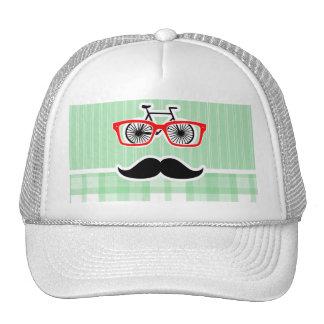 Funny Mustache Green Plaid Mesh Hats