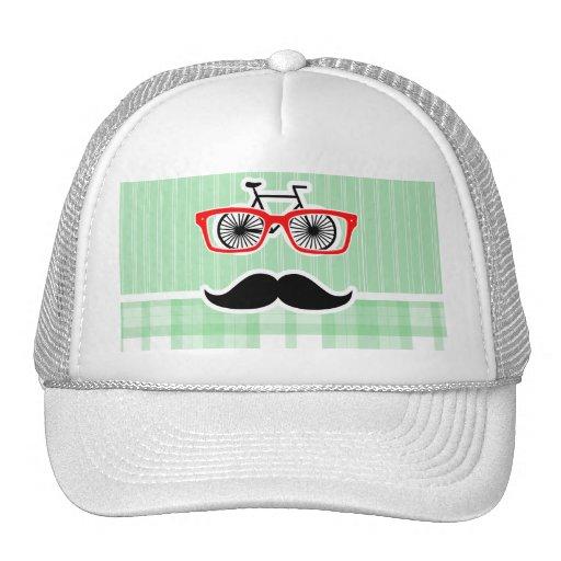 Funny Mustache, Green Plaid Mesh Hats
