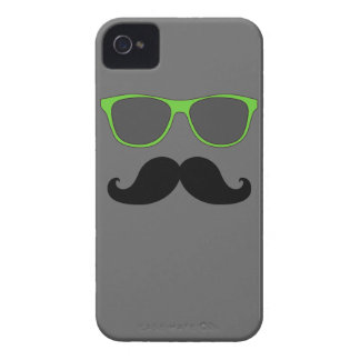 FUNNY MUSTACHE GREEN SUNGLASSES iPhone 4 Case-Mate CASE