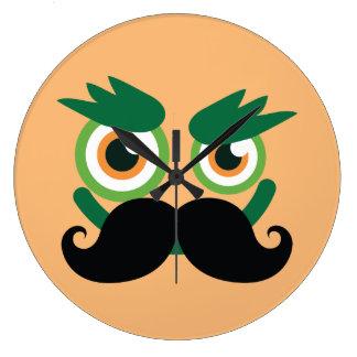 Funny mustache grin man face wall clock