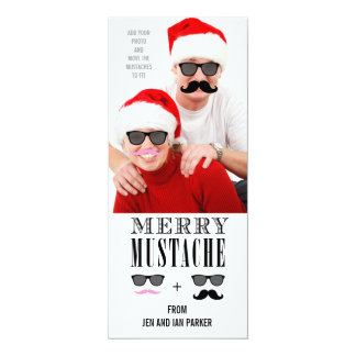 "Funny Mustache Holiday Photo Card 4"" X 9.25"" Invitation Card"