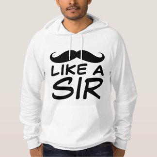 Funny Mustache Like a Sir Fleece Pullover Hoodie