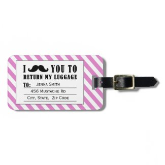 FUNNY MUSTACHE LUGGAGE TAG