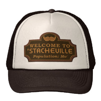 Funny Mustache Mo Welcome Sign Mesh Hat