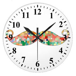 Funny Mustache Mosaic Pattern Large Clock