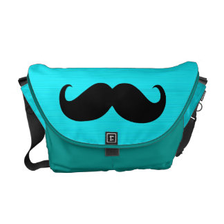 Funny Mustache on Aqua Background Courier Bag