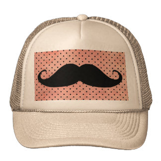 Funny Mustache On Cute Pink Polka Dot Background Cap
