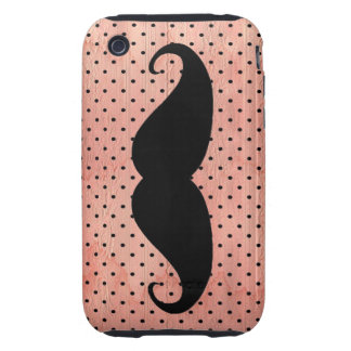 Funny Mustache On Cute Pink Polka Dot Background Tough iPhone 3 Case
