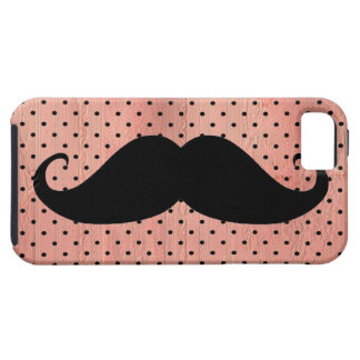 Funny Mustache On Cute Pink Polka Dot Background iPhone 5 Case