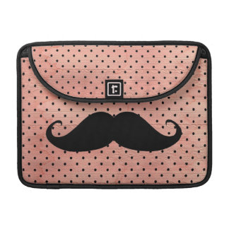 Funny Mustache On Cute Pink Polka Dot Background Sleeves For MacBook Pro