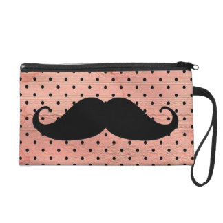 Funny Mustache On Cute Pink Polka Dot Background Wristlet