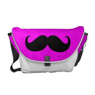 Funny Mustache on Hot Pink Background Messenger Bag