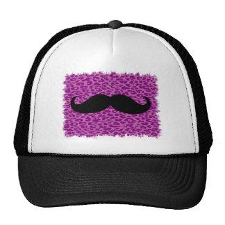 Funny Mustache on Leopard Print Cap
