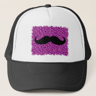 Funny Mustache on Leopard Print Trucker Hat