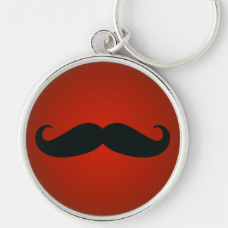 Funny Mustache On Red Premium Keychain