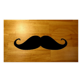 Funny Mustache on Shiny Wood Texture Background Business Cards