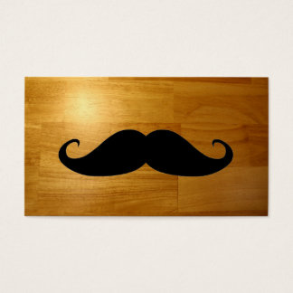 Funny Mustache on Shiny Wood Texture Background Business Card