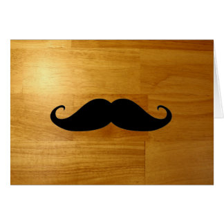 Funny Mustache on Shiny Wood Texture Background Cards