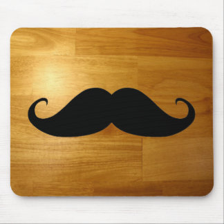Funny Mustache on Shiny Wood Texture Background Mouse Mat