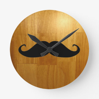 Funny Mustache on Shiny Wood Texture Background Round Clock