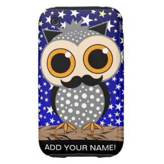 funny mustache owl tough iPhone 3 cases