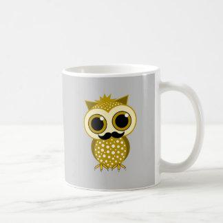 funny mustache owl classic white coffee mug