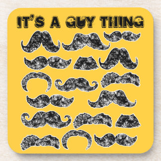 Funny Mustache pattern for men Coaster