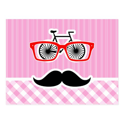 Funny Mustache; Pink Plaid; Checkered Post Card