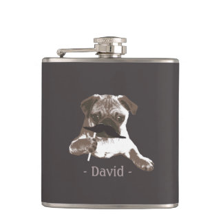 Funny Mustache Pug Dark Tan Flask