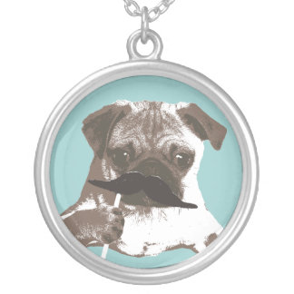 Funny Mustache Pug Silver Plated Necklace