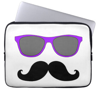 Funny Mustache, Purple Sunglasses Laptop Sleeve