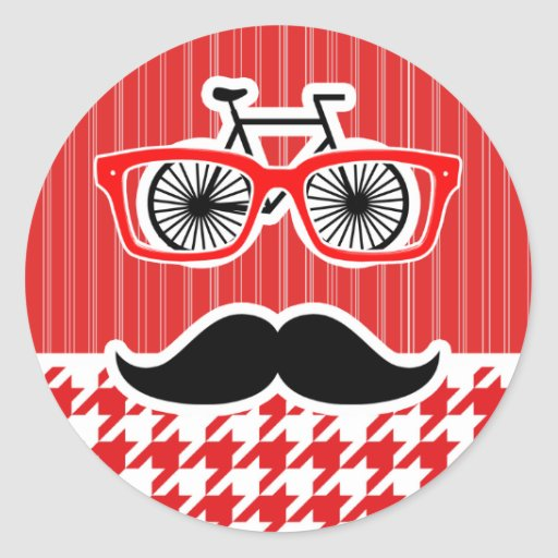 Funny Mustache; Red Houndstooth Sticker
