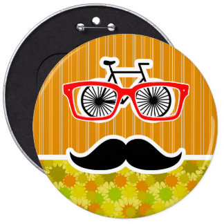 Funny Mustache; Retro Green & Orange 6 Cm Round Badge