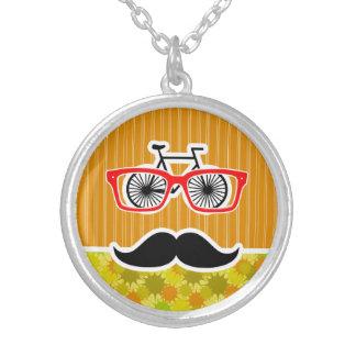 Funny Mustache Retro Green Orange Personalized Necklace