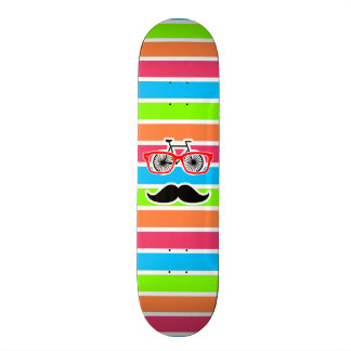 Funny Mustache; Retro Neon Rainbow Skateboard Decks