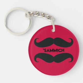 Funny Mustache Sandwich Acrylic Keychain