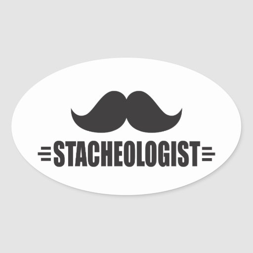 Funny Mustache Oval Stickers