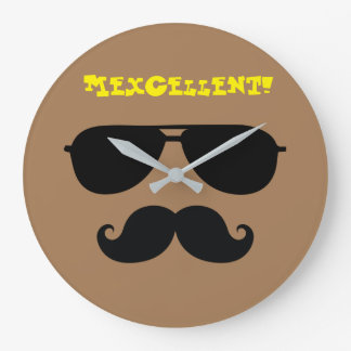 Funny mustache sun shades iconic mexican man quote large clock