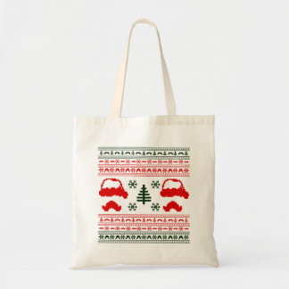Funny Mustache  Ugly Christmas Sweater Budget Tote Bag