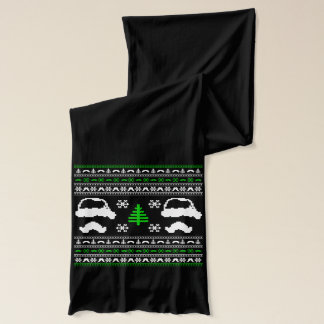 Funny Mustache  Ugly Christmas Sweater Scarf
