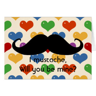 Funny mustache Valentine s Day hipster hearts card