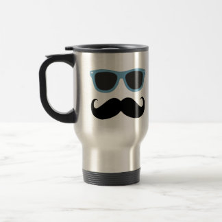Funny Mustache with Blue Shades Travel Mug