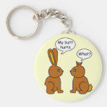 Funny My Butt Hurts Bunnies Basic Round Button Key Ring
