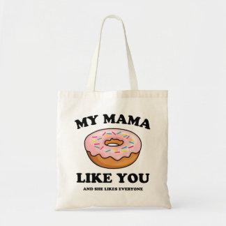 FUNNY MY MAMA DONUT LIKE YOU | DOUGHNUT BUDGET TOTE BAG
