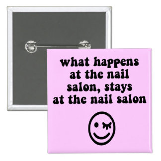 Funny nail salon 15 cm square badge
