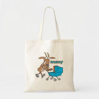 funny nanny goat pushing stroller cartoon tote bag