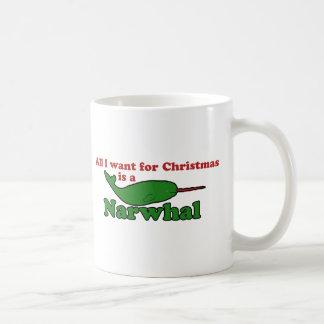 Funny Narwhal Christmas Basic White Mug