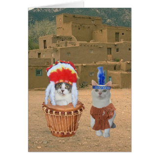 Funny Native American Indian Kitty Valentine Greeting Card