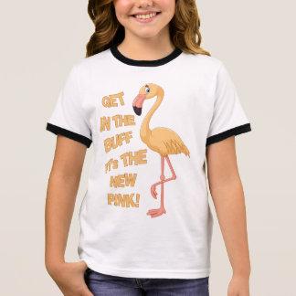 Funny Naturist/Nudist Buff Flamingo Ringer T-Shirt